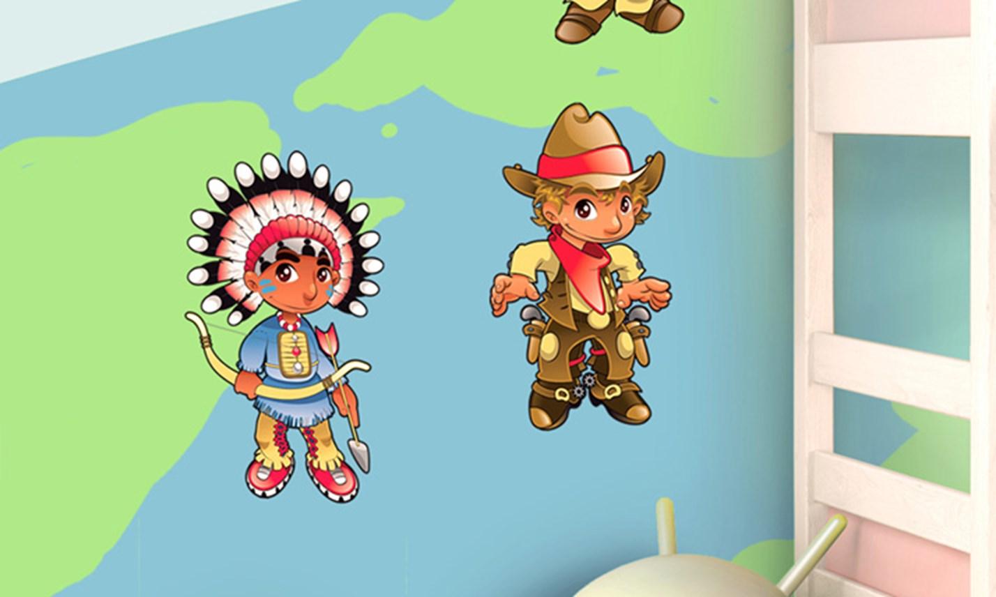 Stickers murali bambini cameretta bambini del mondo - Decorazioni murali per camerette bambini ...